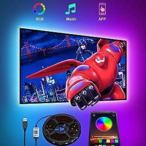Tiras LED TV, Romwish 4.5M Tira LED USB RGB con APP, 16 Millones Colores DIY 5050 SMD,Sincronización de música Iluminacion Luces LED TV Escenas para HDTV/PC Monitor
