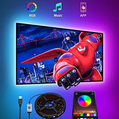 TV LED Backlights 4.5M,Romwish LED Strip Lights with Bluetooth APP Control for 65-75 inch TV, 16 Million Colors, Music Sync Color Changing + Sensitive Mic + Timing Function, Adapter USB Powered