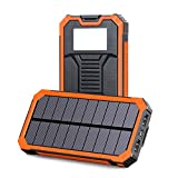 Solar Charger 15000mAh,Elzle Outdoor Portable Power Bank, Solar Power Bank with Solar Chargers, Solar Phone Charger, Fast Charge External Battery Pack with Compatible for Smartphones Tablet Camera