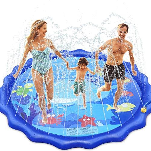 INNOCHEER Splash Pad, Sprinkler Play Matte, 172cm Wasser-Spielmatte Splash Play Matte - Sommer Garten Wasserspielzeug für Baby, Kinder, Hund und Haustiere