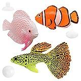 SUNSK Peces de plástico Figuras de Peces Tropicales Animales Marinos de Plástico Artificial Flotante Peces Decoración para Acuario 3 Piezas