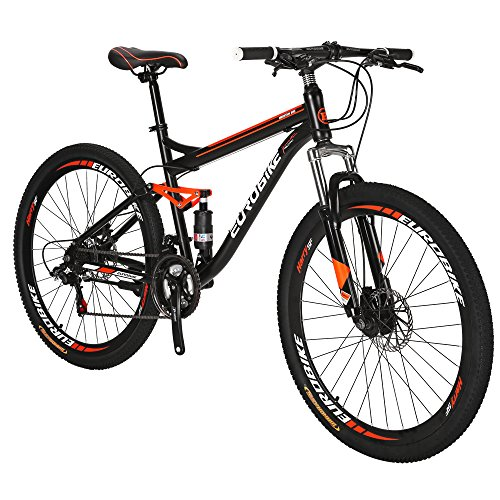 Eurobike S7 Mountain Bike 27.5 Inche Mutil Spoke Wheels Dual Suspension 21 Speed Mountain Bicycle Black Orange