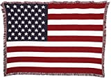 United States American Flag - Cotton Woven Blanket Throw - Made in The USA (70x50)