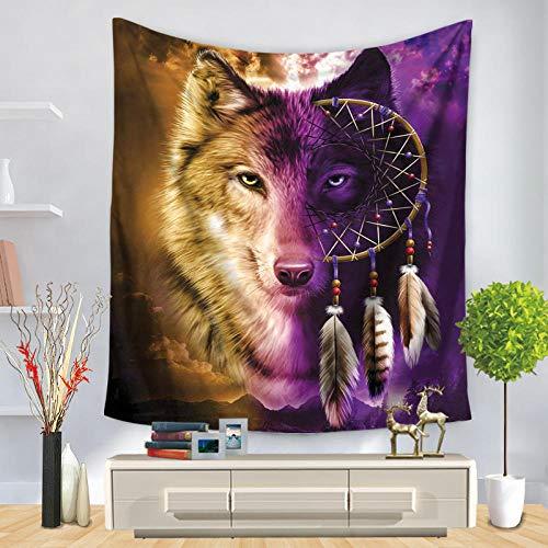 YUANOMWJ Tapiz De Pared,Atrapasueños Personalidad Lobo Animal, Indio Hippie Bohemio Psicodélico Pavo Real Mandala Ropa De Cama, 150X200Cm
