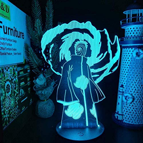 3D Illusion Lamp Naruto Obito Sharingan 3D ANIME LAMP LED night lights Illusion color changing lampara for interior decoration 16 Colors With Remote Contro