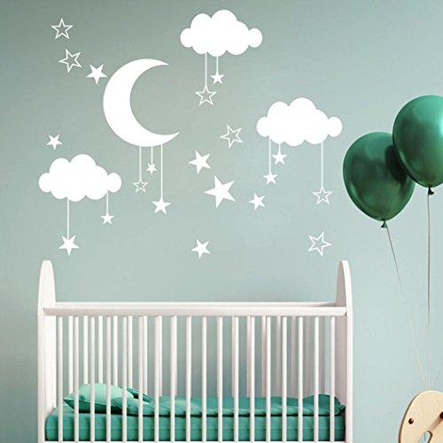 ❤️Pegatinas de Pared❤️Dragon868 Vinilo Pared Infantil Bricolaje Nube Luna calcomanías de Pared de la Estrella para habitación Infantil bebé (Blanco)