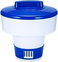 ACCEDE Flotador de cloro de piscina, dispensador flotante de cloro con termómetro para piscinas, flotador químico para tabletas de cloro, ventilación de flujo ajustable soporte de bromo 5,3 pulgadas