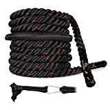 Battle Rope with Anchor Strap Kit 30 Ft Length Upgraded Exercise Training Rope of High Tensile...