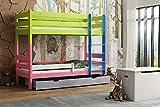 Children's Beds Home - Litera de madera maciza - Toby para niños y niños pequeños - Tamaño 140 x 70, mezcla de colores 2, cajón no, colchón ninguno