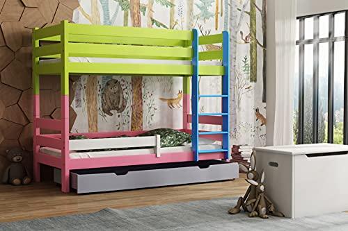 Children's Beds Home - Litera de madera maciza - Toby para niños y niños pequeños - Tamaño 180 x 90, mezcla de colores 2, cajón no, colchón de látex de alta resistencia de 12 cm