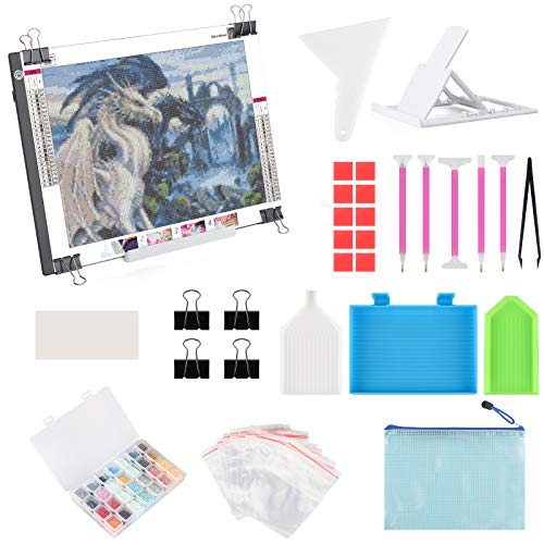 A4 LED Light Pad for Diamond Painting, ELICE LED Light Box Strudy Stepless Adjustable Brightness LED Light Board for Diamond Painting Artists Drawing Sketching Animation Stencilling, USB Powered (A4)