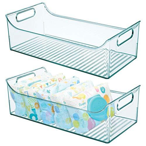 mDesign Set da 2 Organizer per cameretta – Contenitore portaoggetti con manici realizzato in plastica senza BPA – Box lunghi ideali per giocattoli, vestiti o bambole – azzurro/trasparente