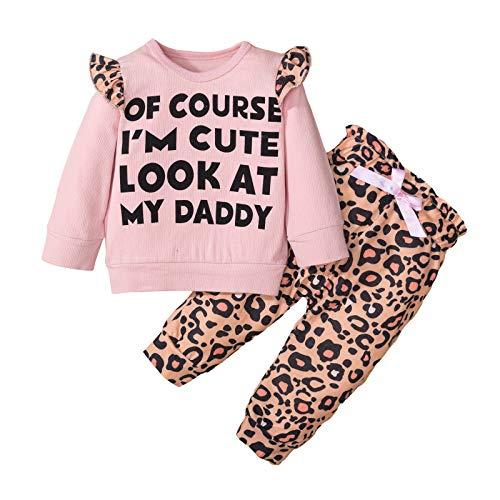 Conjunto de Ropa de Bebé Niña Rosa Estampado Leopardo Conjunto Mangas Larga con Volantes Sudadera Tops Pantalones Traje 2 Piezas Bebé Traje Deportivo bebés niñas 6-24 Meses