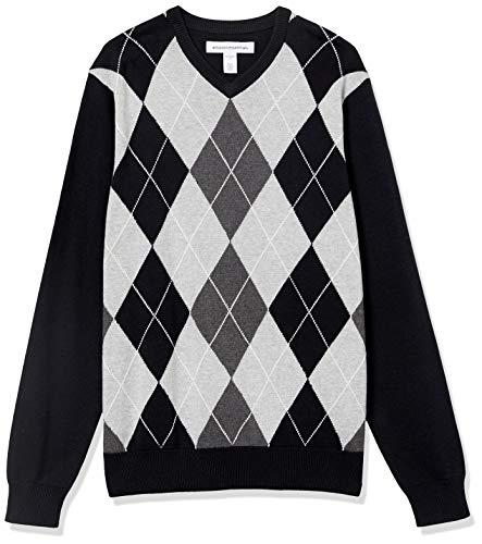 Amazon Essentials V-Neck Sweater Maglione, Argyle Nero, S