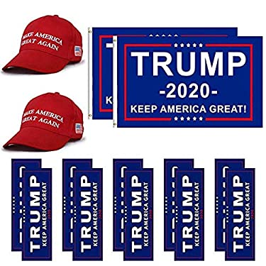 KOOYUTA Donald Trump Flag 2020 Trump Make America Great Again Hat and Keep America Great Bumper Stickers Car for Supporting President Trump-14 pcs