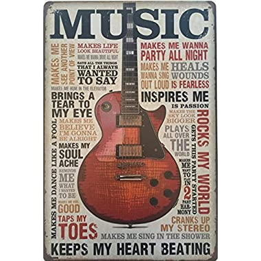 Dehavre Music Inspires Me Guitar Musician Tin Sign 8 x12  inches Vintage Rustic Distressed Home Decor
