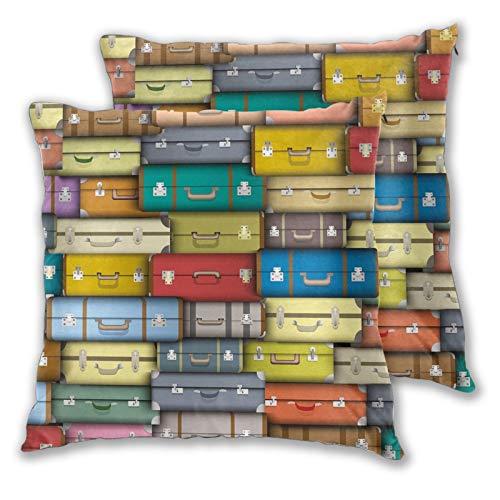 ALLMILL Juego de 2 Funda de Cojín,Fondo de Maletas Coloridas Diseño artístico con temática de Vacaciones de Viaje de Viaje Vintage Funda de Almohada Cuadrado para Sofá Cama,65x65cm