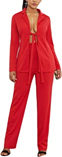 Womens Casual Long Sleeve Blazers Jackets + Trousers Suit Outerwear 2 Pieces Set Party Clubwear