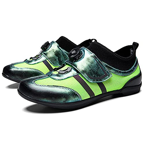 YUHAI Zapatillas de Ciclismo para Hombre Carretera Bike SPD para Tacos Transpirable liviano,Green-39(UK 6.5)