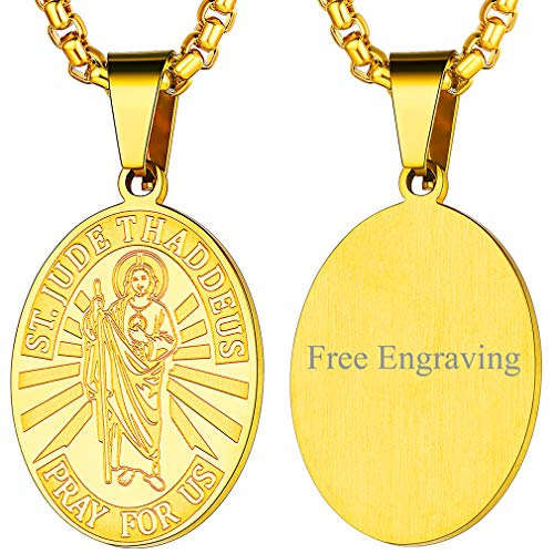 FaithHeart San Judas Tadeo Medalla Ovalada & Redonda Collar Colgante de Acero Inoxidable Joyería Religiosa para Hombres y Mujeres