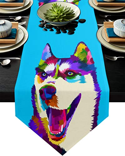 Savannan Kitchen Table Runner Abstract Husky Geometry Illustration Animal Blue Burlap Table Runner Dresser Scarves for Family Dinner, Outdoor or Indoor Parties, Gathering, 16'x72'