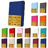 Jacobson Gold Edition Jersey Spannbettlaken Spannbetttuch Baumwolle mit ELASTAN ca. 200 g/m² (Split-Topper 180-200x200cm, Weiss)