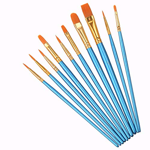 Elisel 10 Pcs Paint Brushes Set Watercolor Brushes Art Paint Brushes for Kids and Adults to Create Art Paint (10)
