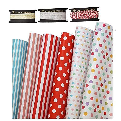 Johiux Papel de regalo, 6 piezas de papel de regalo en forma de corazón, lunares de colores, para Navidad, cumpleaños y fiestas, rollo de papel de regalo de 50 cm x 70 cm, 3 rollos de cinta
