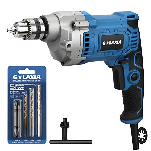 G LAXIA Professional 6A 3/8-Inch Corded Drill, Variable Speed 0-3200RPM, 6.56Ft/2m Cord, Aluminum Gear Case, Rubberized Grip, F/R and Lock-On Button,with 2 Screwdriver Bit,3 Drill Bit and 1 Chuck Key