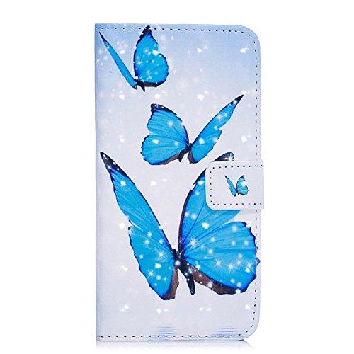 ISAKEN Kompatibel mit Galaxy S5 Hülle, PU Leder Brieftasche Ledertasche Handyhülle Tasche Case Schutzhülle Hülle Etui mit Standfunktion Karte Halter für Samsung Galaxy S5 Neo - Blau Schmetterling