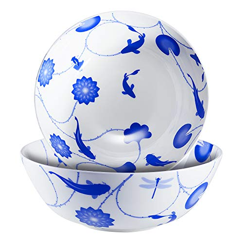 ZENS Asian Soups Bowls,Chinese Bone China Porcelain Bowl 51 Ounce, Japanese Large Ceramic Bowls Blue White Floral of 2 for Pasta Noodle,Cereal