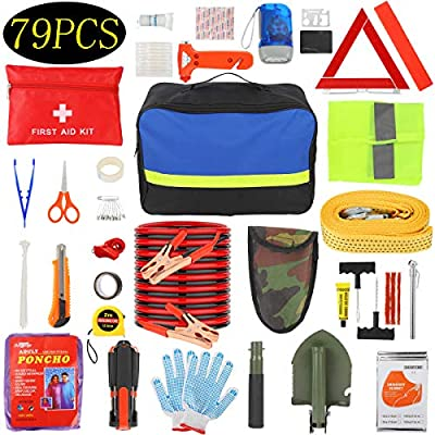 Manfiter Car Emergency Kit with Jumper Cables-19.68 ft,Roadside Emergency Car Kit First Aid Kit,Tow Rope,Reflective Warning Triangle,8-in-1 Screwdriver,Tire Pressure Gauge, Window Breaker,79 Pieces by Manfiter