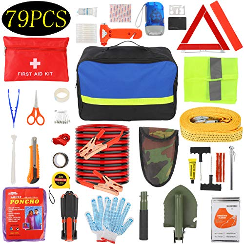 Manfiter Car Emergency Kit with Jumper Cables-19.68 ft,Roadside Emergency Car Kit First Aid Kit,Tow Rope,Reflective Warning Triangle,8-in-1 Screwdriver,Tire Pressure Gauge, Window Breaker,79 Pieces