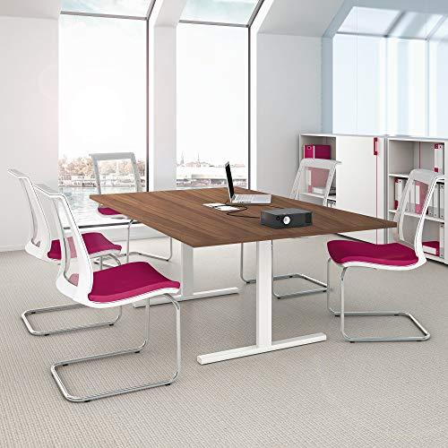 Weber Büro Easy Konferenztisch 200x120cm Nussbaum mit Elektrifizierung Besprechungs-Tisch