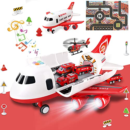 Airplane Toy with Fire Truck Cars and Play Mat,Plane with Lights and...