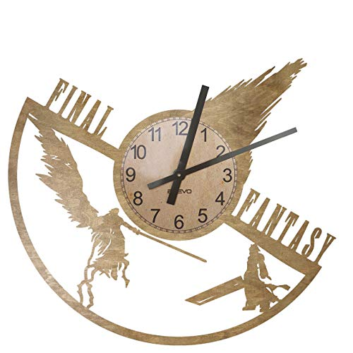 Final Fantasy Reloj de Pared de Madera 50 cm Reloj de Madera 109 Colores para Elegir Reloj de Madera Vintage Final Fantasy