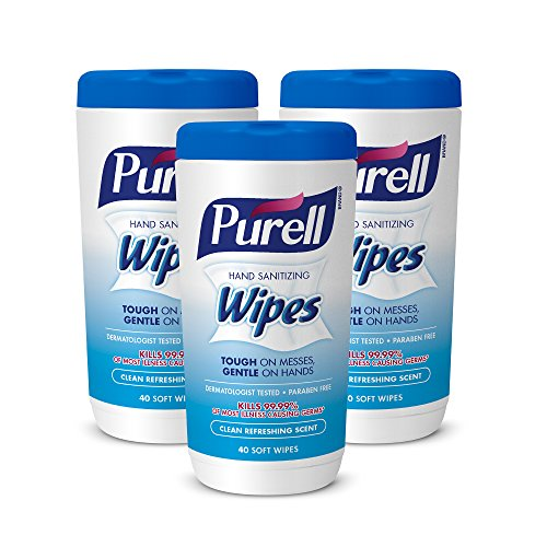 PURELL Hand Sanitizing Wipes, Clean Refreshing Scent, 40 Count Sanitizing Wipes Table Top Canisters (Pack of 3) - 9120-03-EC
