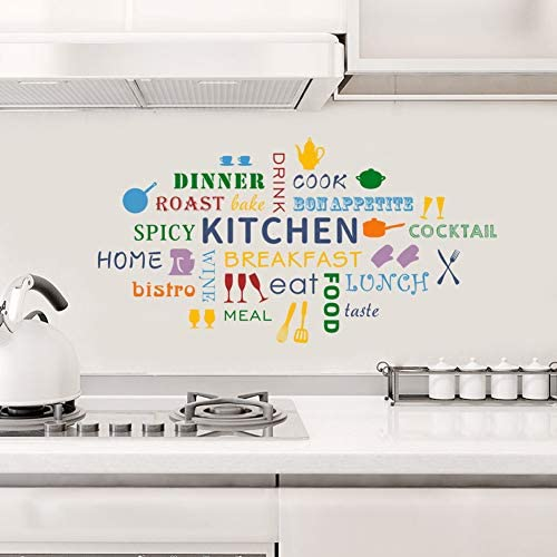 IARTTOP Colorful Kitchen Quote Wall Decal Kitchenware Cooking Utensil Wall Sticker for Kitchen product image
