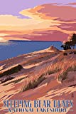 Sleeping Bear Dunes National Lakeshore, Michigan, Dunes Sunset and Bear Travel Poster (9x12 Digitally-Printed Wall Art)