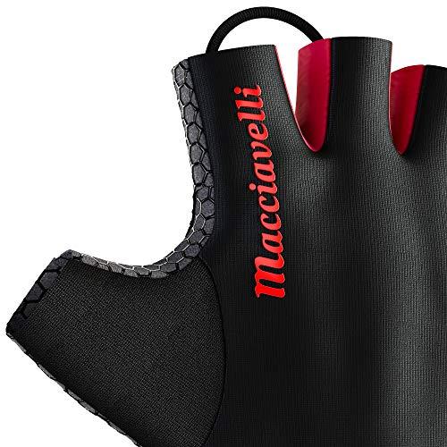 MACCIAVELLI Fitness Handschuhe Trainingshandschuhe Kraftsport (Schwarz   Rot, L)