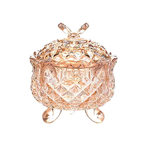 SOCOSY Royal Embossed Crystal Glass Candy Box with Lid Footed Jewelry Box Candy Jar Bowl Wedding Candy Buffet Jars Kitchen Storage Jar 10 oz
