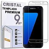 REY Protector de Pantalla Curvo para Samsung Galaxy S7 Edge Cristal Vidrio Templado Premium