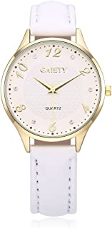 naivo Women's Quartz Stainless Steel and Gold Plated Watch, Color:White (Model:)
