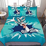 Victoria Anime Bedding Duvet Cover Set,Full (80x90 inch), Looney Tunes Bugs Bunny (1),3 Pieces Bedding Set,with Zipper Closure and 2 Pillow Shams, Cute Cartoon Bedroom Comforter Sets for Boys Girls