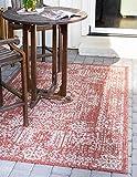 Unique Loom Traditioneller Vintage-Medaillon-Übergangs-Teppich für drinnen und draußen, flachgewebt, 152 x 244 cm, Rostrot/Grau