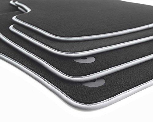 Fußmatten passend für Golf 5 6 Velours Automatten Premium 4-teilig schwarz Nubuk silber