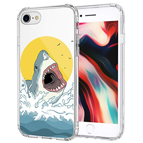 MOSNOVO iPhone SE 2020 Case, iPhone 8 Case, iPhone 7 Case, Shark Pattern Printed Clear Design Transparent Plastic Hard Back Case with TPU Bumper Case Cover for iPhone 7 / iPhone 8 / iPhone SE 2020