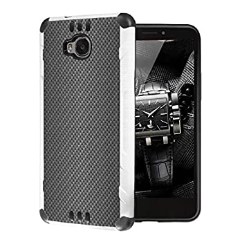 Moriko Case Compatible with Huawei Ascend XT [Cute Premium Dual Layer Hybrid Shockproof Slim Heavy Duty Men Women Girly Design White Black Case Phone Cover] for H1611  Carbon Fiber Print