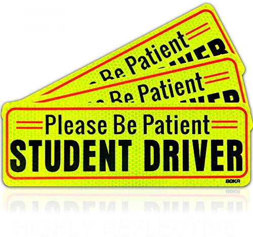 BOKA Student Driver Magnet Car Sign, Enhanced Magnetic Vehicle Bumper Magnet for New Driver, Reflective Strong Magnetic Safety Sticker for Learning Drivers,Large Bold Visible Text 10×3.5in(3 Pack)