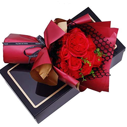 Laluna フラワーソープ 枯れない花 バラ花束 プレゼント 誕生日 結婚 記念日 卒業 入学 出産 お祝い 母の日 バレンタインデー 昇進 転居など最適としてのプレゼント (レッド- love forever)